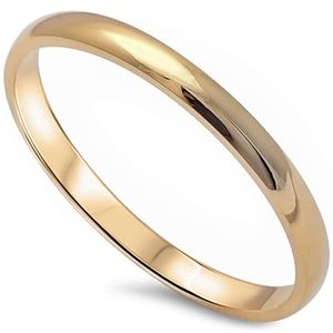 Jewelry - Sterling Silver 925 2MM Gold Plated Wedding Ring
